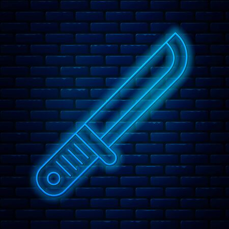 Glowing neon line Hunter knife icon isolated on brick wall background. Army knife. Vector Illustration