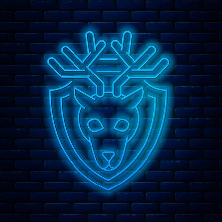 Glowing neon line Deer head with antlers on shield icon isolated on brick wall background. Hunting trophy on wall. Vector Illustration