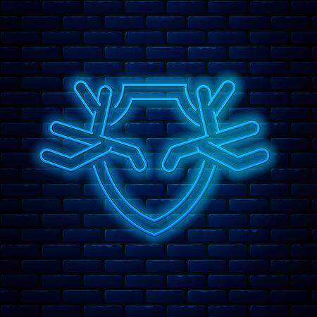 Glowing neon line Deer antlers on shield icon isolated on brick wall background. Hunting trophy on wall. Vector Illustration Ilustração