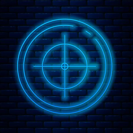 Glowing neon line Target sport for shooting competition icon isolated on brick wall background. Clean target with numbers for shooting range or shooting. Vector Illustration