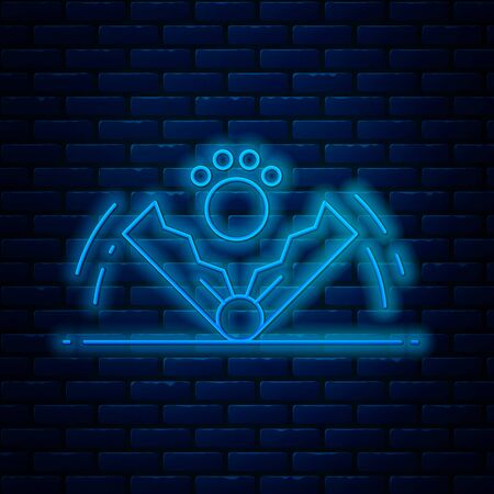 Glowing neon line Trap hunting icon isolated on brick wall background. Vector Illustration