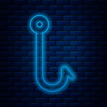Glowing neon line Fishing hook icon isolated on brick wall background. Fishing tackle. Vector Illustration