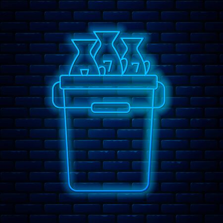 Glowing neon line Fishing bucket with fishes icon isolated on brick wall background. Fish in a bucket. Vector Illustration