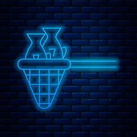 Glowing neon line Fishing net with fish icon isolated on brick wall background. Vector Illustration Ilustração