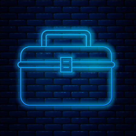 Glowing neon line Case or box container for wobbler and gear fishing equipment icon isolated on brick wall background. Fishing tackle. Vector Illustration 일러스트