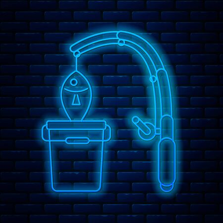 Glowing neon line Fishing rod and fish icon isolated on brick wall background. Put fish into a bucket. Fishing equipment and fish farming topics. Vector Illustrationn