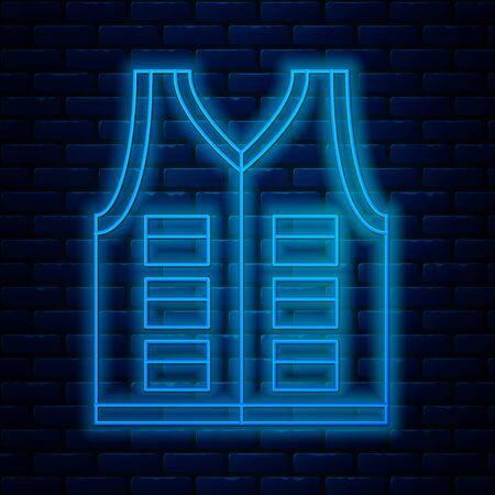 Glowing neon line Fishing jacket icon isolated on brick wall background. Fishing vest. Vector Illustration 일러스트