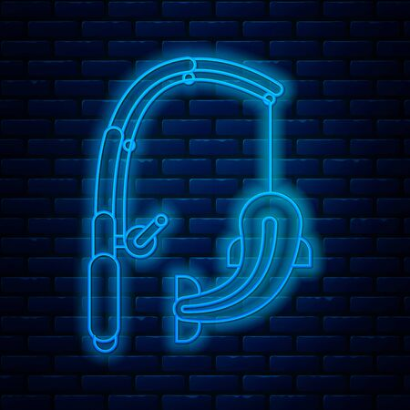Glowing neon line Fishing rod and fish icon isolated on brick wall background. Catch a big fish. Fishing equipment and fish farming topics. Vector Illustration