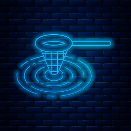 Glowing neon line Fishing net in water icon isolated on brick wall background. Fishing tackle. Vector Illustration