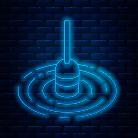 Glowing neon line Fishing float in water icon isolated on brick wall background. Fishing tackle. Vector Illustration
