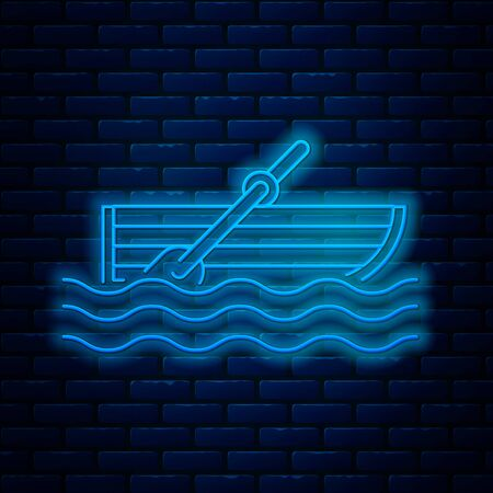 Glowing neon line Fishing boat with oars on water icon isolated on brick wall background. Vector Illustration