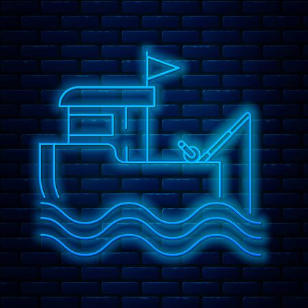 Glowing neon line Fishing boat with fishing rod on water icon isolated on brick wall background. Vector Illustration