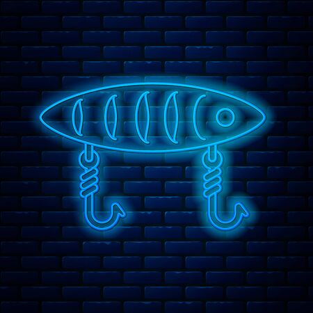 Glowing neon line Fishing lure icon isolated on brick wall background. Fishing tackle. Vector Illustration