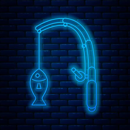 Glowing neon line Fishing rod and fish icon isolated on brick wall background. Fishing equipment and fish farming topics. Vector Illustration