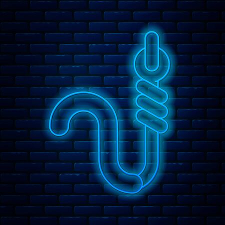 Glowing neon line Fishing hook and worm icon isolated on brick wall background. Fishing tackle. Vector Illustration