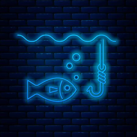 Glowing neon line Fishing hook under water with fish icon isolated on brick wall background. Fishing tackle. Vector Illustration