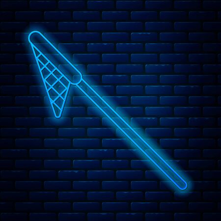 Glowing neon line Fishing net icon isolated on brick wall background. Fishing tackle. Vector Illustration Ilustração