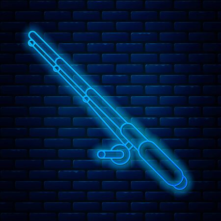 Glowing neon line Fishing rod icon isolated on brick wall background. Fishing equipment and fish farming topics. Vector Illustration Ilustração