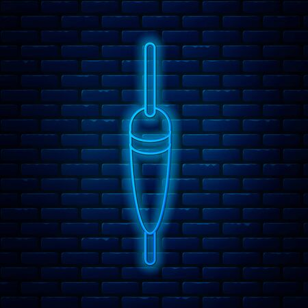 Glowing neon line Fishing float icon isolated on brick wall background. Fishing tackle. Vector Illustration