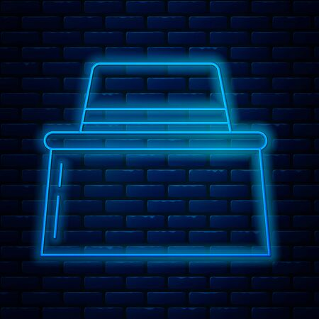 Glowing neon line Beekeeper with protect hat icon isolated on brick wall background. Special protective uniform. Vector Illustration