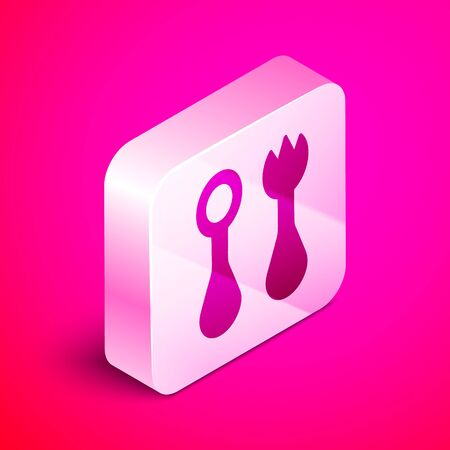 Isometric Baby plastic cutlery with fork and spoon icon isolated on pink background. Cutlery for kid. Childrens dining items. Silver square button. Vector Illustration Illustration