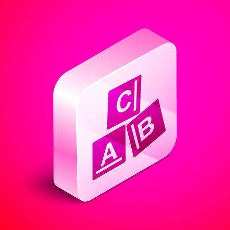 Isometric ABC blocks icon isolated on pink background. Alphabet cubes with letters A,B,C. Silver square button. Vector Illustration