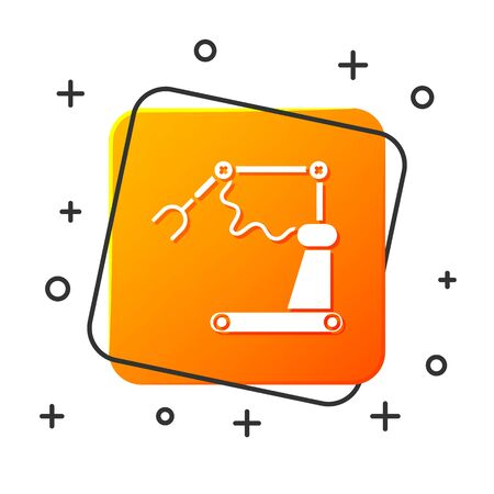 White Industrial machine robotic robot arm hand factory icon isolated on white background. Industrial robot manipulator. Orange square button. Vector Illustration
