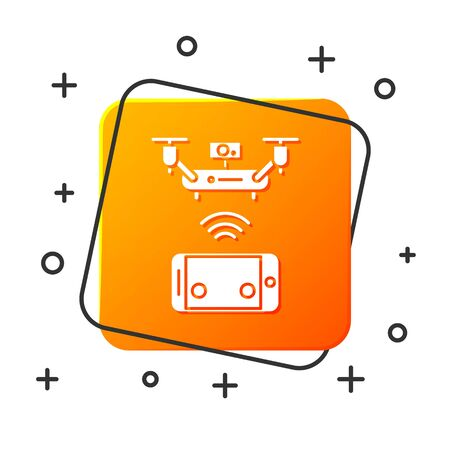 White Remote aerial drone with a camera taking photography or video recording icon isolated on white background. Orange square button. Vector Illustration