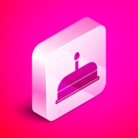 Isometric Cake with burning candles icon isolated on pink background. Happy Birthday. Silver square button. Vector Illustration
