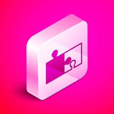 Isometric Piece of puzzle icon isolated on pink background. Modern flat, business, marketing, finance, internet concept. Silver square button. Vector Illustration