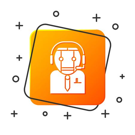 White Worker robot icon isolated on white background. Orange square button. Vector Illustration