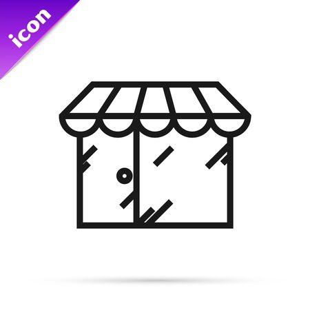 Black line Barbershop building icon isolated on white background. Vector Illustration Illusztráció