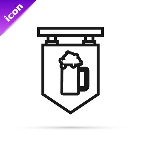 Black line Street signboard with glass of beer icon isolated on white background. Suitable for advertisements bar, cafe, pub, restaurant. Vector Illustration