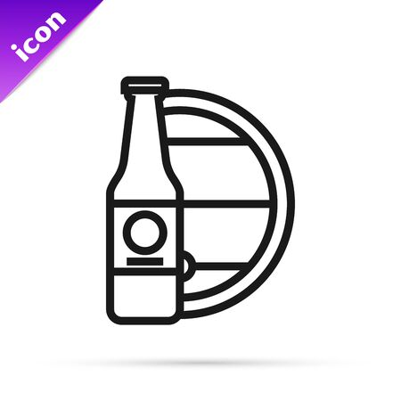 Black line Beer bottle and wooden barrel icon isolated on white background. Vector Illustration