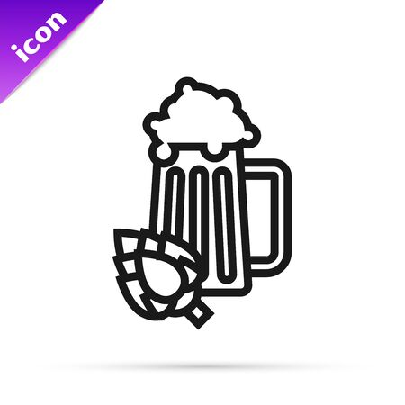 Black line Glass of beer and hop icon isolated on white background. Vector Illustration