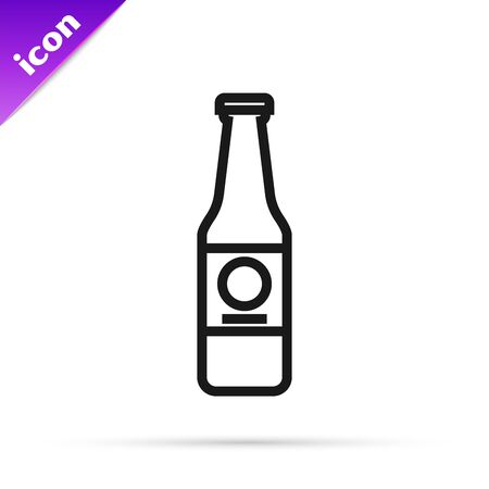 Black line Beer bottle icon isolated on white background. Vector Illustration