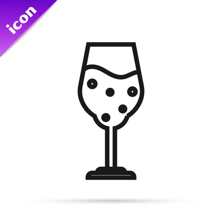 Black line Glass of beer icon isolated on white background. Vector Illustration Ilustração