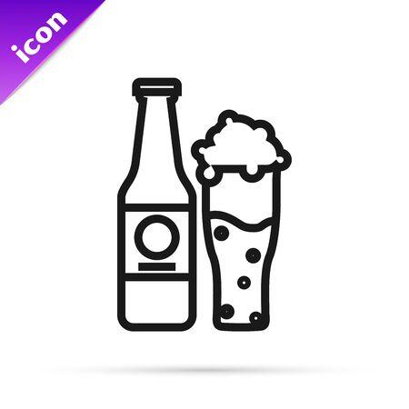 Black line Beer bottle and glass icon isolated on white background. Alcohol Drink symbol. Vector Illustration Ilustração
