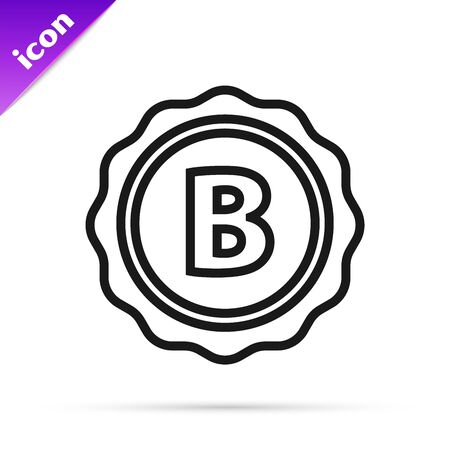 Black line Bottle cap with inscription beer icon isolated on white background. Vector Illustration