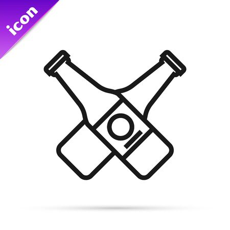 Black line Crossed beer bottle icon isolated on white background. Vector Illustration