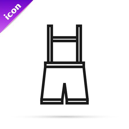 Black line Lederhosen icon isolated on white background. Traditional bavarian clothing. Oktoberfest outfit. Pants with suspenders. Patrick day. Vector Illustration Illustration