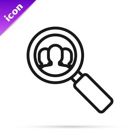 Black line Magnifying glass for search a people icon isolated on white background. Recruitment or selection concept. Search for employees and job. Vector Illustration Ilustracja