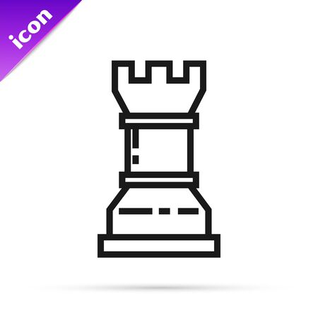 Black line Business strategy icon isolated on white background. Chess symbol. Game, management, finance. Vector Illustration 스톡 콘텐츠 - 133793844