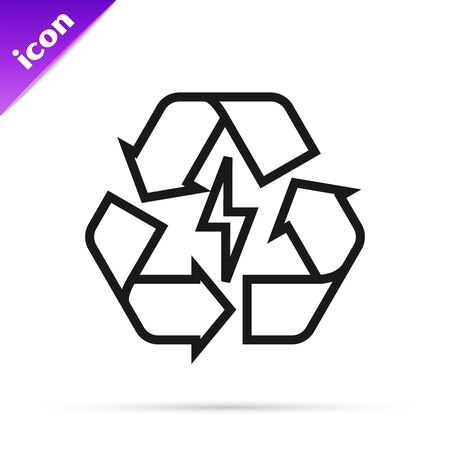 Black line Battery with recycle symbol line icon isolated on white background. Battery with recycling symbol - renewable energy concept. Vector Illustration