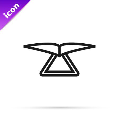 Black line Hang glider icon isolated on white background. Extreme sport. Vector Illustration