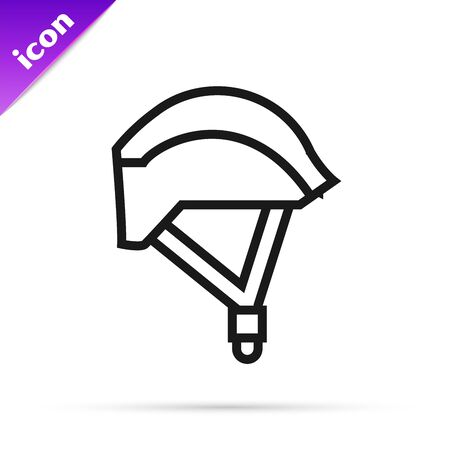 Black line Bicycle helmet icon isolated on white background. Extreme sport. Sport equipment. Vector Illustration