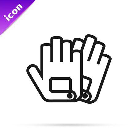 Black line Gloves icon isolated on white background. Extreme sport. Sport equipment. Vector Illustration