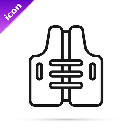 Black line Life jacket icon isolated on white background. Life vest icon. Extreme sport. Sport equipment. Vector Illustration 向量圖像