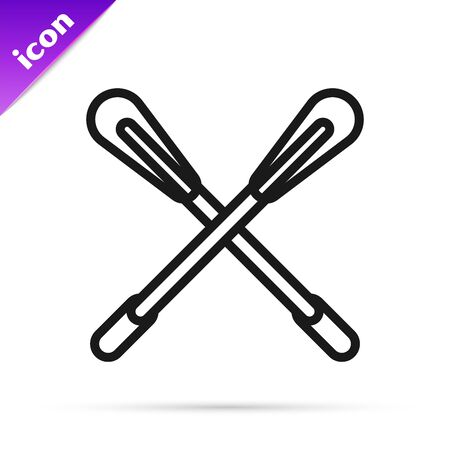 Black line Crossed paddle icon isolated on white background. Paddle boat oars. Vector Illustration