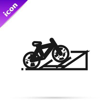 Black line Bicycle on street ramp icon isolated on white background. Skate park. Extreme sport. Sport equipment. Vector Illustration Illusztráció